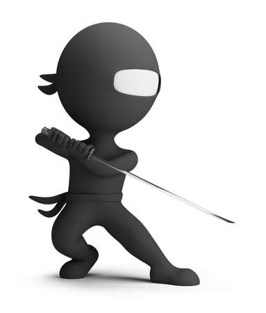 3d small person - ninja with sword in hand, wearing a black suit and combat posture  3d image  Isolated white background  Stock Photo