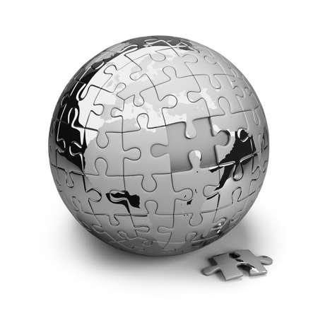 paciencia: Tierra rompecabezas de metal. Imagen en 3d. Aislado fondo blanco.