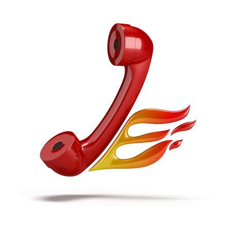 emergency services: Red tube coming out of the phone with her ​​flames. 3d image. Isolated white background. Stock Photo