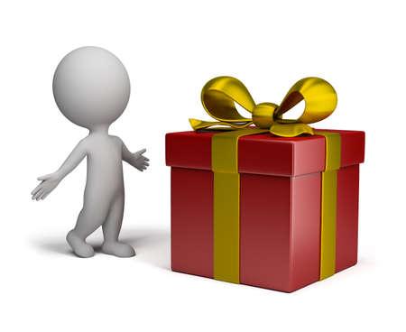 следующий: удивленный 3d человек в позе рядом с большой подарок. 3D-изображение. Изолированные белом фоне.