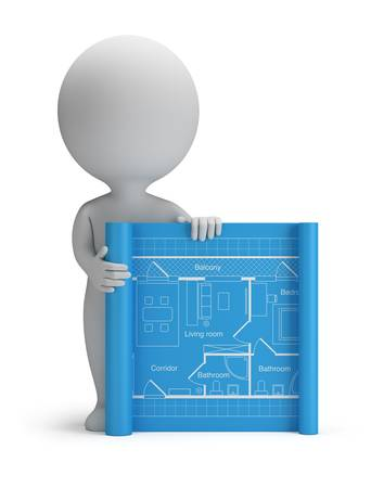 3d small person with a blueprint. 3d image. Isolated white background.