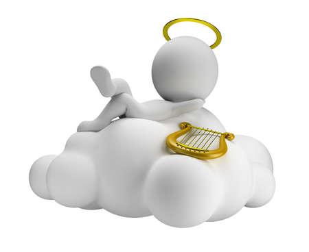 lies: 3d small people in paradise lies in a cloud with a harp. 3d image. Isolated white background.