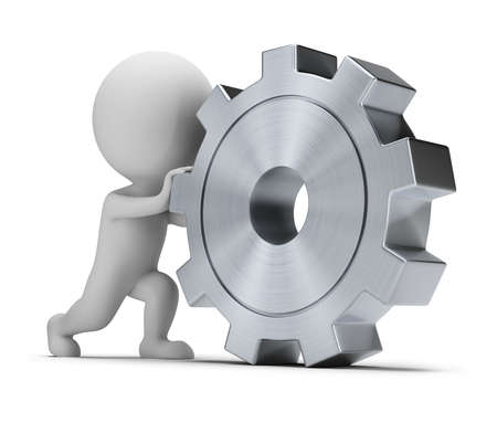 steel workers: 3d small person rolls a large gear. 3d image. Isolated white background.