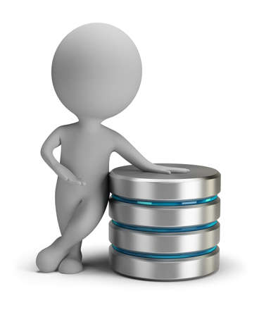 3d person standing next to the server. 3d image. Isolated white background.