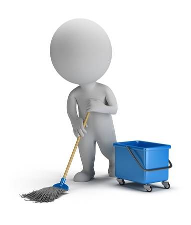 3d small person cleaner with a mop and bucket. 3d image. Isolated white background.