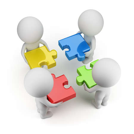 teamwork together: 3d small people - team with multi-colored puzzles. 3d image. Isolated white background.
