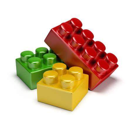 다채로운 플라스틱 장난감 블록. 3D 이미지. 격리 된 흰색 배경.