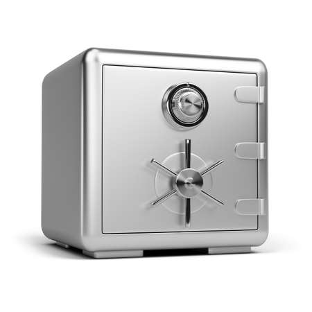 steel safe. 3d image. Isolated white background.