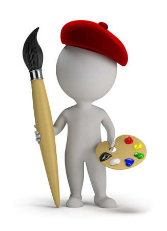 3d small person - artist with a big brush and palette in hand  3d image  Isolated white background  Banque d'images