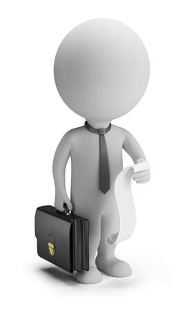 man: 3d small person - businessman with a list of cases and a briefcase  3d image  Isolated white background  Stock Photo