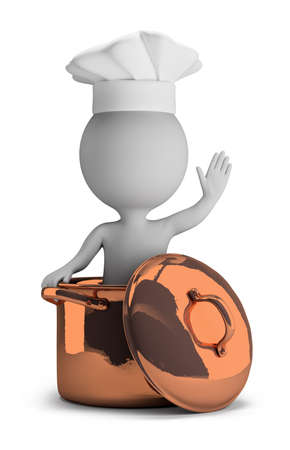 3d small person - cook in a copper pan in a welcome pose  3d image  Isolated white background  Stockfoto