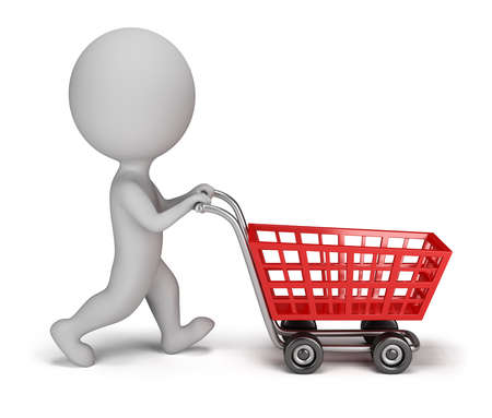 3d small person with a shopping cart  3d image  Isolated white background