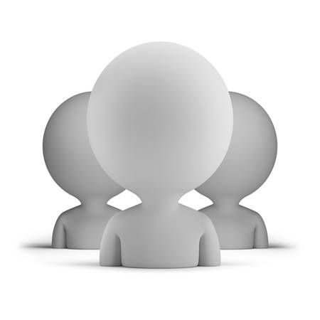 three users  3d small person  3d image  Isolated white background