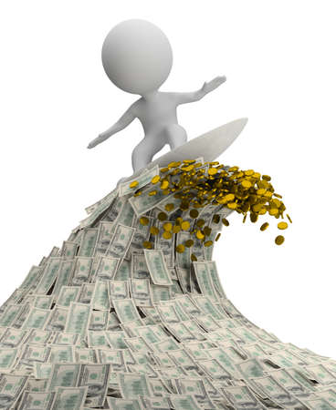 optimist: 3d small person - surfer on a wave of cash  3d image  Isolated white background