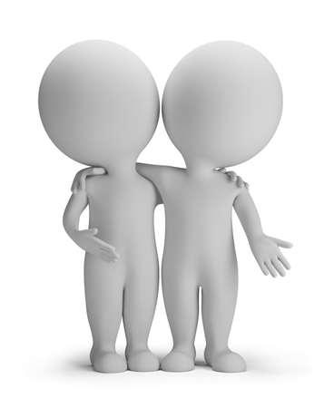 petit bonhomme: 3d petite personne - deux amis sont enlacés. 3d image. Isolé fond blanc.