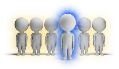 3d small people with aura indigo against ordinary people. 3d image. Isolated white background.