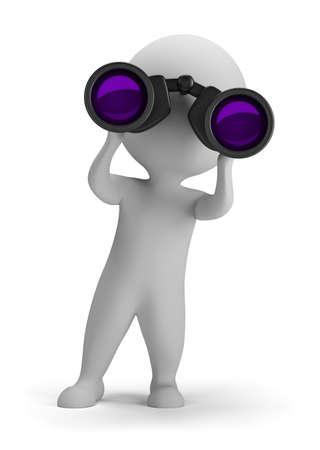 Persona 3d pequeña mirando a través de binoculares. Imagen en 3D. Aislado fondo blanco.