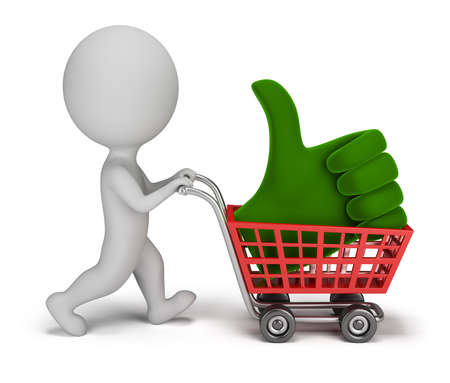 alright: 3d small person carrying a positive symbol in the cart. 3d image. Isolated white background.