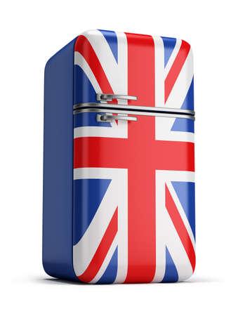 fridge: retro refrigerator with the British flag on the door. 3d image. Isolated white background.
