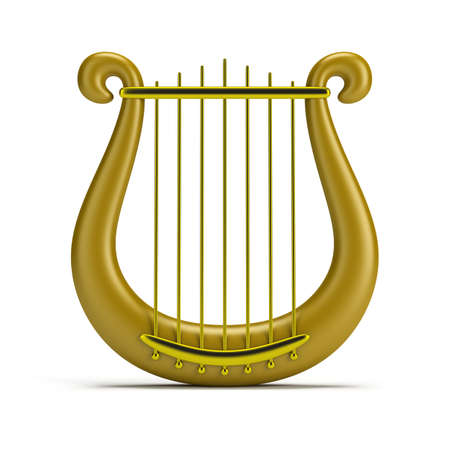 golden harp. 3d image. Isolated white background.