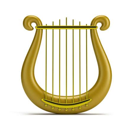 golden harp. 3d image. Isolated white background.