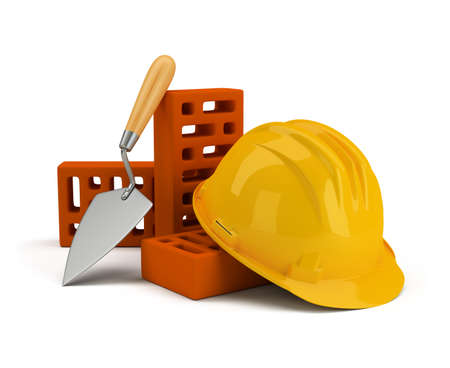 helmet with bricks and trowel. 3d image. Isolated white background. photo