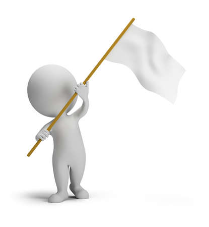 3d small people waved flags. 3d image. Isolated white background. Banque d'images