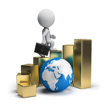 petit bonhomme: 3d petite personne - homme d'affaires marchant sur l'escalier d'or � travers le monde. 3d image. Isol� fond blanc.