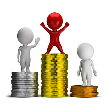 competitions: 3d small people standing on a pile of coins. 3d image. Isolated white background.