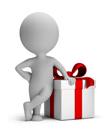 3d small person next to gift. 3d image. Isolated white background.