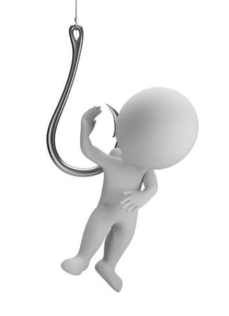 3d small people on the hook. 3d image. Isolated white background.