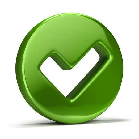 3D 이미지. 녹색 확인 표시 아이콘. 격리 된 흰색 배경. 스톡 콘텐츠