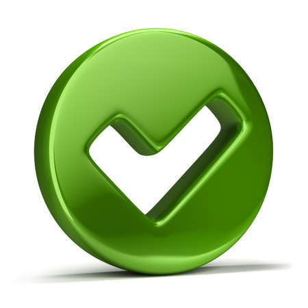 background check: 3d image. Green checkmark icon. Isolated white background.