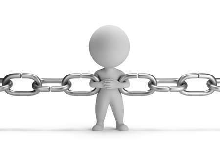 3d small person raised as a link in the chain  3d image  Isolated white background  Banque d'images