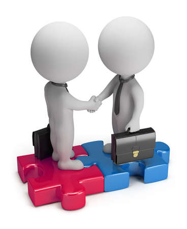 3d small business people standing on the puzzle and make a handshake  3d image  Isolated white background  Standard-Bild