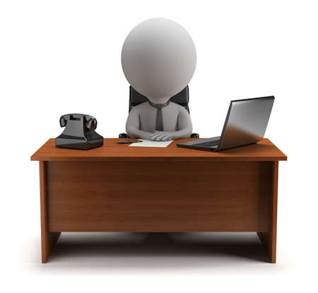 3d small person - manager sits at a desk with a laptop and phone  3d image  Isolated white background