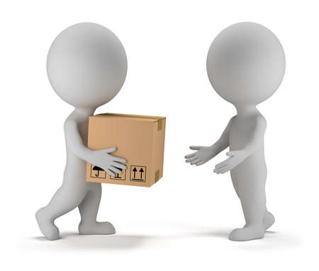 3d small people deliver a parcel to another person  3d image  Isolated white background