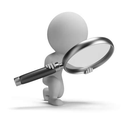 3d small person with a big magnifying glass  3d image  Isolated white background  Stockfoto