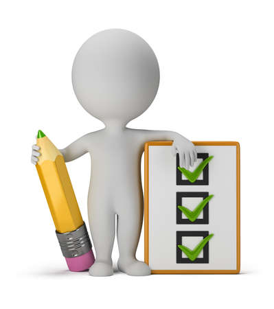 3d small person with clipboard and pencil  3d image  Isolated white background