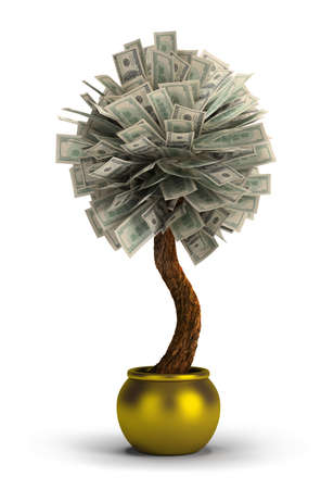 grow money: money tree in a golden pot  3d image  Isolated white background