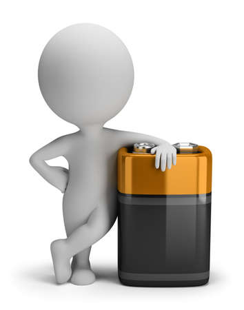 bater�a: Persona 3d peque�a con una gran bater�a. Imagen en 3D. Aislado fondo blanco. Foto de archivo