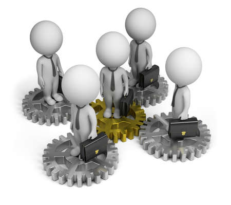 3d small person - businessmen standing on gears. 3d image. Isolated white background. Standard-Bild