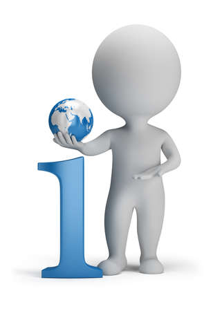 3d small person next to the icon information in his hand globe. 3d image. Isolated white background.