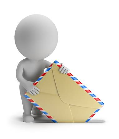 3d 작은 사람이 편지를 보냅니다. 3D 이미지. 격리 된 흰색 배경.