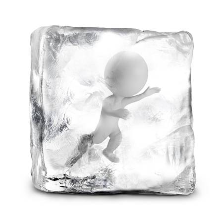 frozen: 3d small person frozen in ice. 3d image. Isolated white background.
