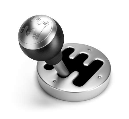 gearshift: steel gearshift. 3d image. Isolated white background.