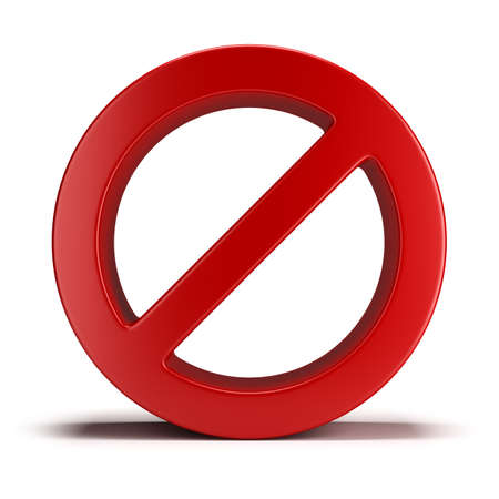 forbidden: No sign. 3d image. Isolated white background.