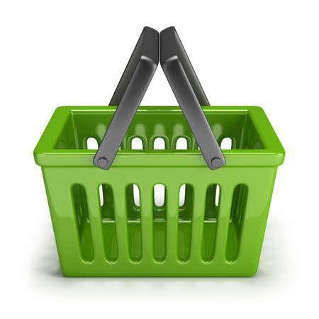 basket icon: green shopping basket. 3d image. Isolated white background.