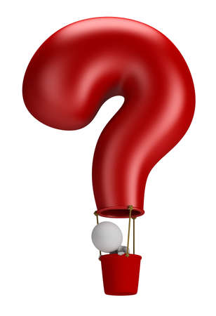 3d small person flying in a balloon question. 3d image. Isolated white background. Standard-Bild