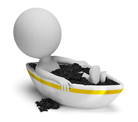 3d small person takes a bath caviar. 3d image. Isolated white background.
